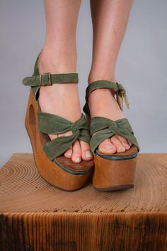 "1970s platform shoes . 70s leather and wood platforms with 5"" heel height by coralvintage, www.coralvintage.etsy.com"