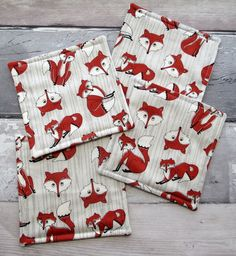 Quilted Coasters - Fox Coasters - Set of 4 Fabric Coasters £8.00