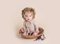 Christmas Flower Bonnet  Gold Floral Photo Prop Bonnet