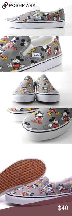 Mickey Mouse Disney Slip on Vans Mickey Mouse Disney Slip on Vans. New with tags. Never tried on. Size 10 in men's. So nice for a Disneyland trip, or for anyone with a Disneyland annual pass! You will get many compliments wearing these! Completely sold out & go for more. Vans Shoes