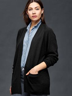 Wool/cashmere open cardigan Product Image