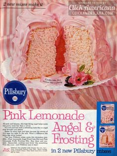 Pink lemonade angel cake & frosting All pink and lemony, this high-flying angel helps make any party more fun than a circus. Retro Recipes, Old Recipes, Vintage Recipes, Cake Recipes, Recipies, Angel Cake, Pink Lemonade Cake, Milk Glass Cake Stand, Vintage Baking