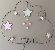 Fabriquer sa décoration de Noël avec les enfants This would be cute & easy to do on something small. Wire Crafts, Diy And Crafts, Baby Deco, Laser Art, Little Girl Rooms, Baby Room Decor, Wire Art, Handmade Decorations, Christmas Diy