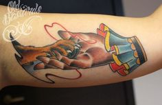 Dog paw and hand neo traditional tattoo done by Dorin Constantinescu at Old Bastards Tatoo in Cluj, Romania.