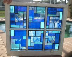 Blue Stained Glass Mosaic Vintage Repurpose Wooden Window Blue Rhapsody via Etsy Stained Glass Door, Stained Glass Designs, Stained Glass Projects, Stained Glass Patterns, Wooden Windows, Vintage Windows, Antique Windows, Mosaic Art, Mosaic Glass
