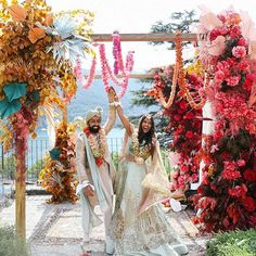 """An """"explosion of color"""" was the phrase the bride-to-be cited most frequently when trying to communicate her vision to her wedding. wedding traditions This Indian-Pakistani Wedding Brought Bursts of Vibrant Color to the Shores of Lake Como Desi Wedding, Wedding Mandap, Wedding Ceremony, Punjabi Wedding, Wedding Receptions, Pakistani Wedding Stage, Boho Wedding, Indian Wedding Flowers, Vogue Wedding"""