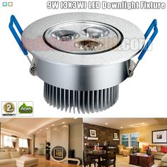 9W (3X3W) Directional LED Downlight Fixture - Aimable and Dimmable
