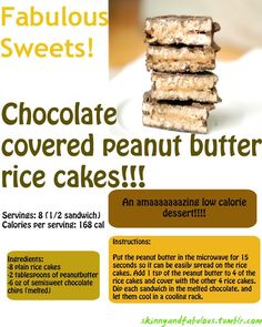Low-calorie dessert- Chocolate covered peanut butter rice cakes