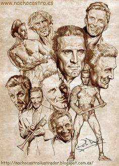 """Kirk Douglas,illustration from the book """"Hombres de Hollywood"""".Nacho Castro.Diábolo ediciones"""