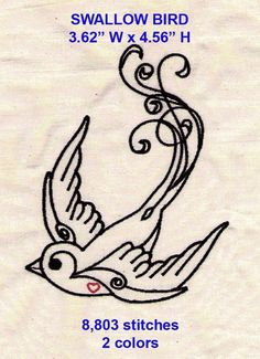 bird needlework pattern | SWALLOW BIRD machine embroidery design file by stitchmouse on Etsy, $5 ...
