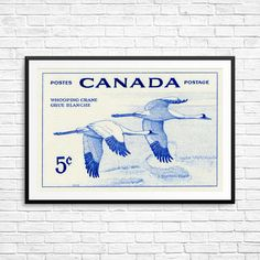 Whooping crane whooping crane art whooping crane by CanadaStampArt Crane Bird, Historical Art, Pigment Ink, Bird Prints, Stamp Collecting, Paper Size, Poster Size Prints, Canada, Wall Art