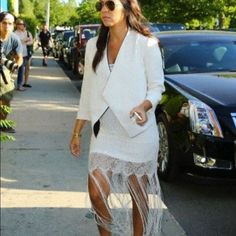 Alice + Olivia Lena Crochet Fringe Dress