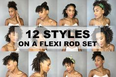 12 Easy and Quick Hairstyles On A Flexi Rod Set (Natural Afro Kinky Hair)