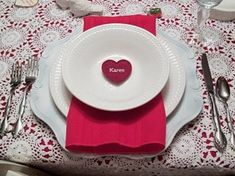 59 Romantic Valentine's Day Table Settings - like the lace over red table cloth