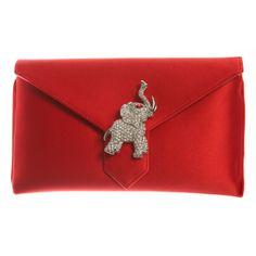 Wilbur & Gussie Charlie Silk Red Elephant Clutch Bag