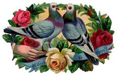 Victorian Graphic - Doves with Roses - The Graphics Fairy