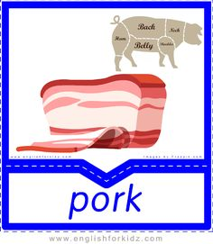Printable Food & Drinks Flashcards. Pork. ESL flashcards. Food Vocabulary, English Vocabulary, Printable Flashcards, Printables, Visual Dictionary, English Food, English Lessons, Student Learning, Game Design