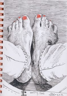 "OBSERVATIONAL DRAWING in ink. The ""birds eye view"" is a real attention grabber and the painted toenails add a bit of whimsy to this drawing."
