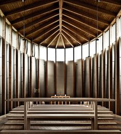st. benedict chapel,   architect: peter zumthor.  photo, samuel ludwig.