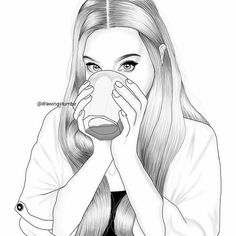 Image de outline, draw, and illustration Tumblr Drawings, Sad Drawings, Tumblr Art, Pencil Art Drawings, Pop Art Drawing, Girl Drawing Sketches, Girl Sketch, Black And White Girl, Black Girl Art