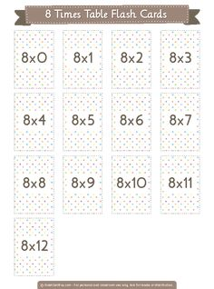 Free printable 8 times table flash cards. Download them in PDF format at http://flashcardfox.com/download/8-times-table-flash-cards/