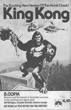 Ad for TV broadcast of King Kong Horror Monsters, Cool Monsters, King Kong 1933, King Kong Vs Godzilla, Giant Monster Movies, Classic Movies, Classic Tv, Creature Feature, Batman And Superman