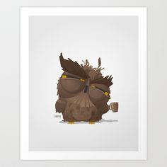 Grumpy coffee owl Art Print by Pesto design