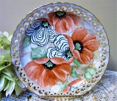 Plate Hand Painted Poppy Porcelain Ceramic Pottery Kitchen Home Decor BLM by PorcelainChinaArt on Etsy