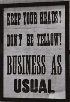 #WW2 EVACUATION POSTER; DON'T BE YELLOW; In June 1940, this poster was displayed in Guernsey just as17,000 evacuees were leaving for the English coast. It caused confusion and ill feeling. The island was occupied by Germany for 5 years, When the evacuees returned home, many were treated as 'cowards who had run away'. See more at: http://guernseyevacuees.wordpress.com/evacuation/  #BRITISH