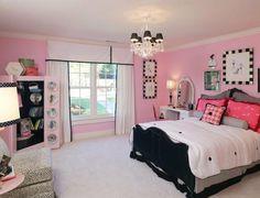chambre de fille déco en rose et noir