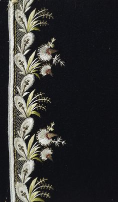 Sampler for a camisole; embroidery depicting a garland of feathers & flowers | France | 1780s | tulle, satin, gold & silk threads, sequins | The Hermitage | Inventory #: Т-3243