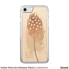 Feather Watercolor Bohemian Tribal Carved iPhone 7 Case March 27 2017 #junkydotcom #zazzle