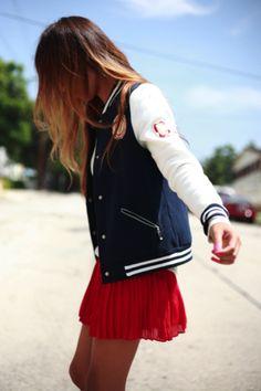 varsity jacket x red skirt | Very Varsity