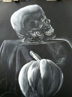 white charcoal on black paper