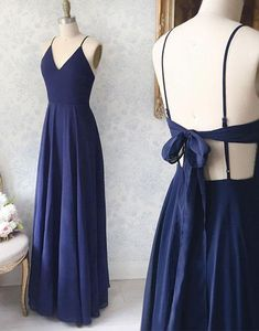 Simple blue v neck chiffon long prom dress, evening dress,Party Dresses,Evening Gowns by prom dresses, $142.56 USD