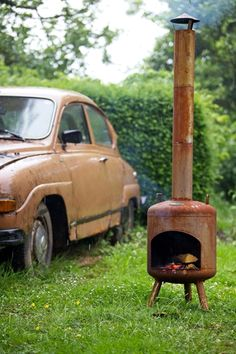 Lanterfant buitenhaard David #buitenhaard #tuinhaard #zomer #lanterfant #lanterfanten #outdoor #vuur #rusty #roest Gas Bottle Wood Burner, Barrel Stove, Chiminea, Pergola Patio, Metal Art, Photos, Yard, Outdoor, Fireplaces
