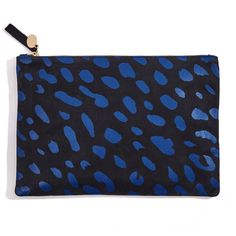 Luxurious Italian leather and California style come together in the Blue Jaguar Print Flat Clutch Clare Vivier, Blue Purse, Best Bags, Leather Purses, Leather Bag, Jaguar, Flats, Sewing Kit, Sick