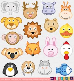 INSTANT DOWNLOAD Party Animal Face Mask & Speech by SasiyaDesigns, $5.00