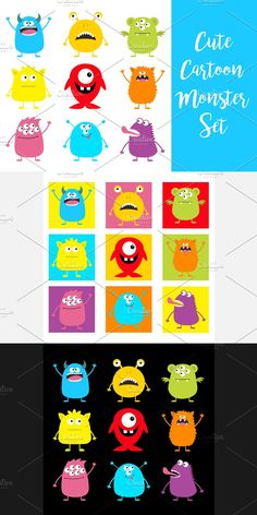 Scary Funny, Funny Character, Monster Design, Cute Monsters, Funny Babies, Icon Set, Happy Halloween, Colorful Backgrounds, Cartoon
