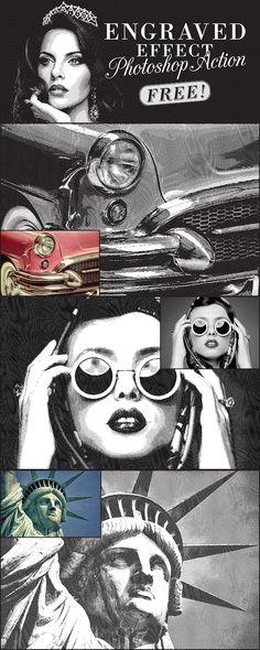 写真を版画やお札のようなエフェクトに変換してくれるPhotoshopアクション Free Engraved Effect Photoshop Action