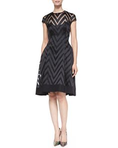 Cap-Sleeve Sheer Zigzag Dress by Lela Rose at Neiman Marcus.