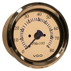 VDO Allentare White 8000RPM 3-3/8 (85mm) Outboard Tachometer - 12V
