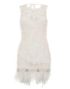 Lipsy V I P Lace Beaded Detail Feather Hem Dress