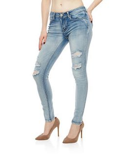 d757909b52be0 Bottoms for Women | Rainbow. WAX Distressed Ripped Skinny Jeans -  1074071619046