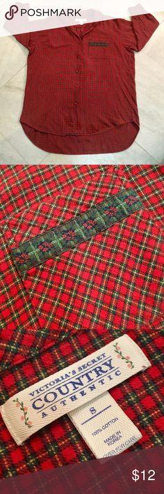 😴VICTORIA'S•SLEEP•SHIRT💋 Victoria's Secret Plaid Flannel Sleep Shirt. Long Sleeve, Front Pocket, Longer In Back. Gently Used. ♥️ Says Small - Runs Large. 🌟🌟🌟 Victoria's Secret Intimates & Sleepwear Pajamas