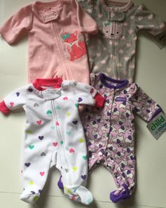 733233e5d6a Lot of 4 Preemie Girl Fleece One-Piece Sleepers Child of Mine Carters size P
