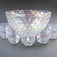 SALE! Vintage Jubilee Federal Glass Iridescent Luminous Punch Bowl Set - Thumbprint Design - Seven Cups