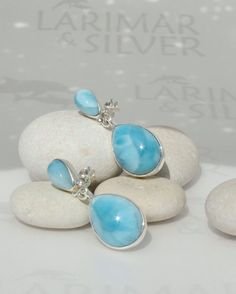 Blue Larimar earrings, Turquoise Rain Drops - gorgeous sky blue Larimar matched pears - dangling - post - truly handmade jewelry
