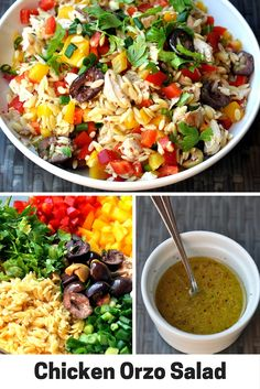 bell pepper recipes This delicious orzo salad with shredded chicken, bell peppers, olives, and a wholegrain mustard dressing is a great weeknight meal. Italian Salad Recipes, Chopped Salad Recipes, Spinach Salad Recipes, Bean Salad Recipes, Chicken Salad Recipes, Lunch Recipes, Cooking Recipes, Healthy Recipes, Healthy Meals