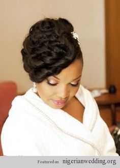 YES to the pinned ringlets! Pin it up for the first style, take em' down for a loose, fun reception style! African American hair, wedding hair